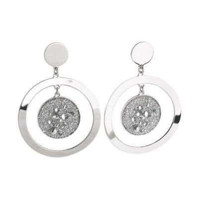Orecchini Boccadamo Da Donna concentrici con superficie Swarovski galuchat silver cod. xor255